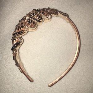 Rose gold sequin leaf headband
